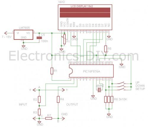 Schema electrica Voltmetru ampermetru digital