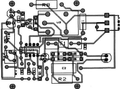 Automat pentru iluminat cablaj - circuitul imprimat + piese
