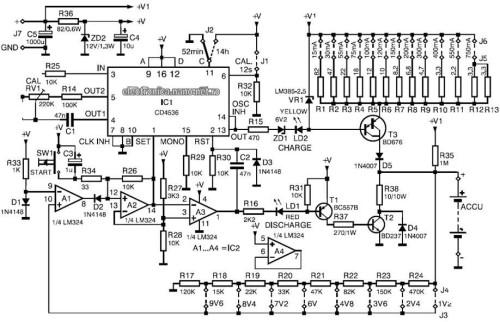 Schema electrică încarcator descarcator NiCd NiMH