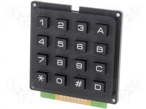 Tastatura este o matrice cu 4x4 si are 8 pini