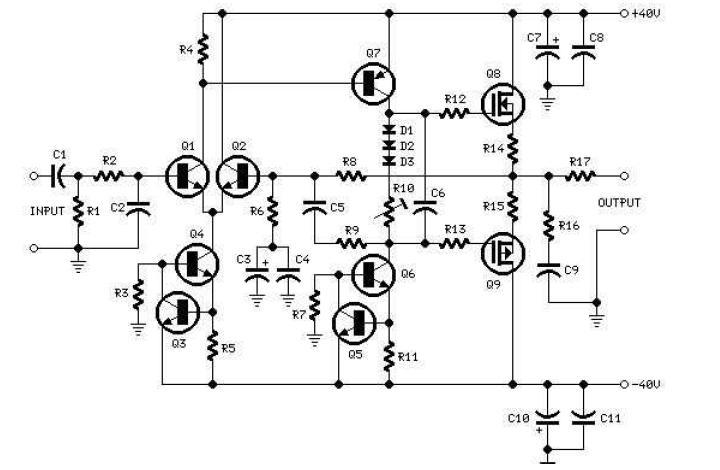 amplificator audio cu tranzistori mosfet 60w rms si