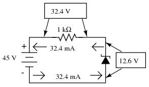 Calcul puterile pe rezistor şi pe diodă
